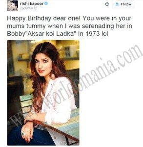 Rishi Kapoor did a ridiculous joke on twitter in Twinkle Khanna's birthday