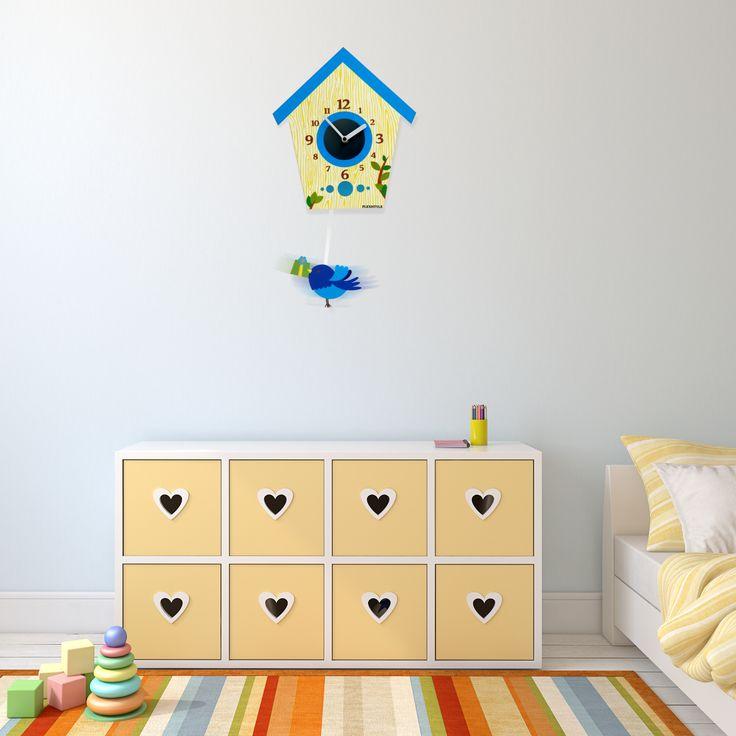 Detské kyvadlové hodiny s tichým chodom modré