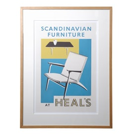 Heal's Scandinavian Furniture Framed Poster. Own a piece of Heal's history with this framed advertisement. Heal's first introduced Scandinavian design in 1951 and it has been a firm favourite ever since.