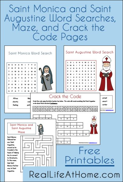 9 best catholic celebration images on pinterest catholic roman saint monica and saint augustine free printables two word searches a maze and fandeluxe Gallery
