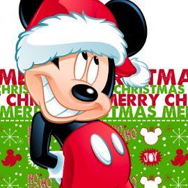 Kerstkaart - mickey-met-kerstmuts-rood