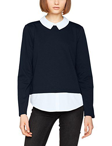 Only Onlcally L/S Collar Top Jrs, T-Shirt à Manches Longues Femme: Pull Only. Cally Collar modÚle . Gris. Manche longue. col rond.…