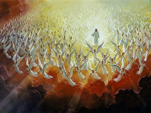 Angels worshipping Christ our King
