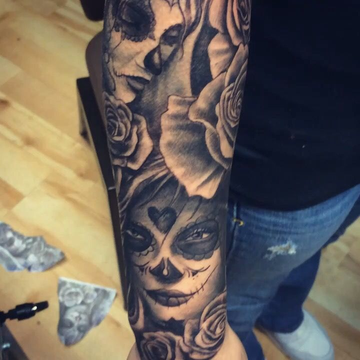 Day of the dead theme Sleeve finished at 2720 tattoo Toledo Ohio