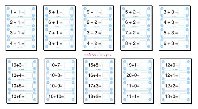 edusio - druczki do nauczki: Dodawanie do 20 - karty do wydrukowania