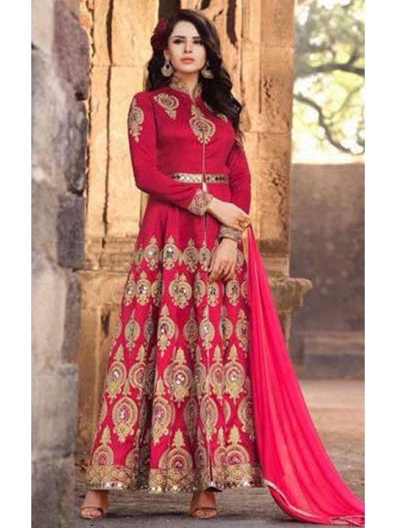 Flagrant Pink Designer Anarkali salwaar suit