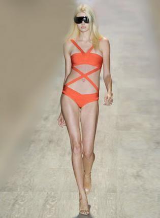 Bqueen Orange One-piece Bandage Swimwear H121C,  Swimsuit, Bqueen Orange One-piece Bandage Swimwear