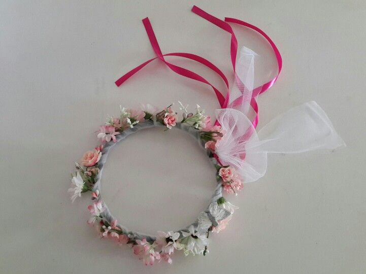 Pink Roses and Daisies with Crystal Berries and Vintage Butterfly Flower Crown