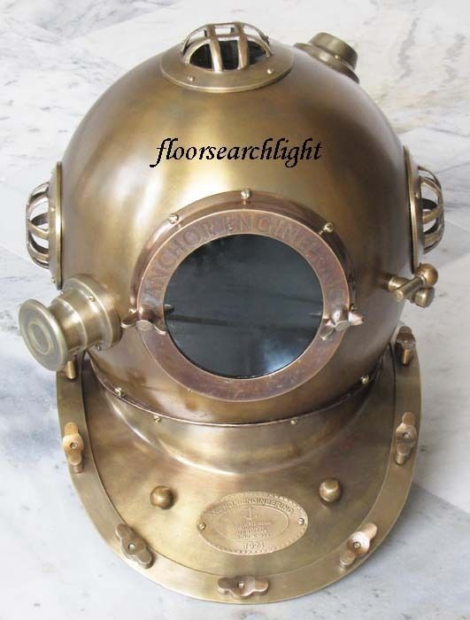 NAUTICAL ANTIQUE FINISHED ANCHOR ENGINEERING STEEL DEEP SEA DIVERS DIVING HELMET
