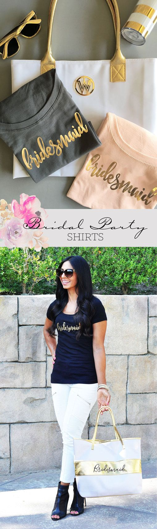 Bridal Party Shirts make the perfect gift for your bridesmaids and maid of honor - give them to your friends before a bachelorette party so the crew can travel in style! Each soft cotton jersey shirt has a scoop neck and printed with a bridal party title in metallic gold foil. ***DETAILS*** ____________________________________________________________________  Listing is for 1 Bridal Party Shirt in the color of your choice.  Cosmetic Bags are NOT included but can be purchased separately in…