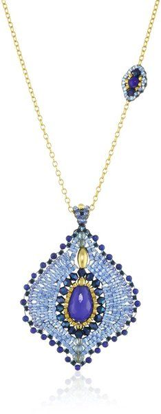 Lapis Lotus Petal Pendant #Necklace by Miguel Ases #jewelry