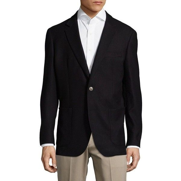Saks Fifth Avenue Solid Wool Jacket ($85) ❤ liked on Polyvore featuring men's fashion, men's clothing, men's outerwear, men's jackets, mens wool jacket, mens wool outerwear, mens jackets and mens navy blue jacket