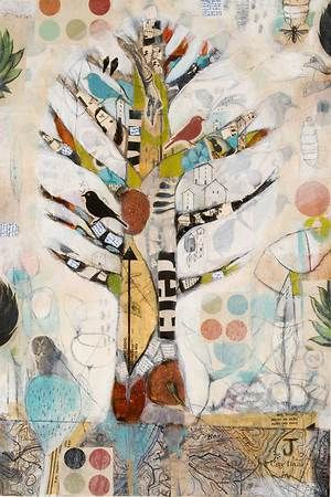 Tree of Life by Judy Paul. Fascinated by all things tree. Wanted to try this using corrugated coffee cup cozies as the tree. Texture, texture, texture!!