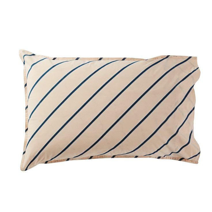 Coral Pillowcase With Diagonal Dark Turquoise Stripe