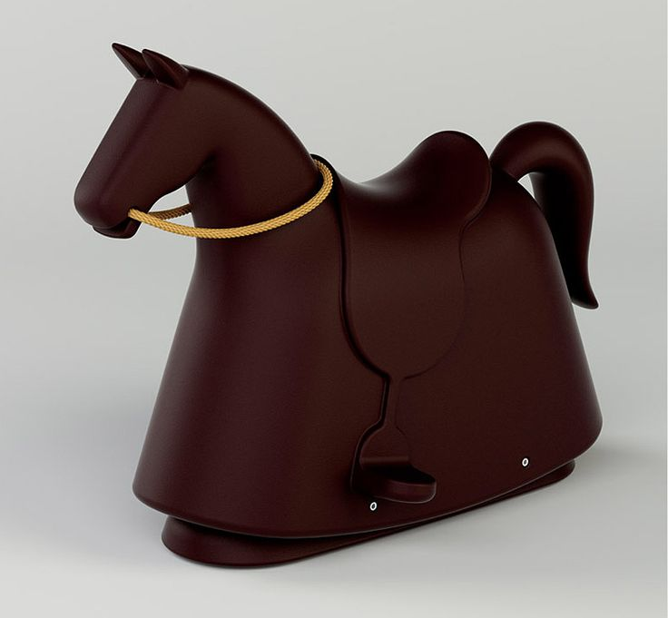 a modern take on a traditional object, the rocking horse is a pop version of a medieval jousting horse.
