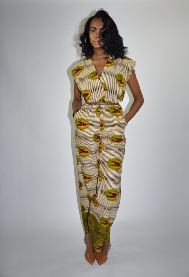 African Print Jumpsuit The Frances Jumpsuit by ChenBCollection, $119.00