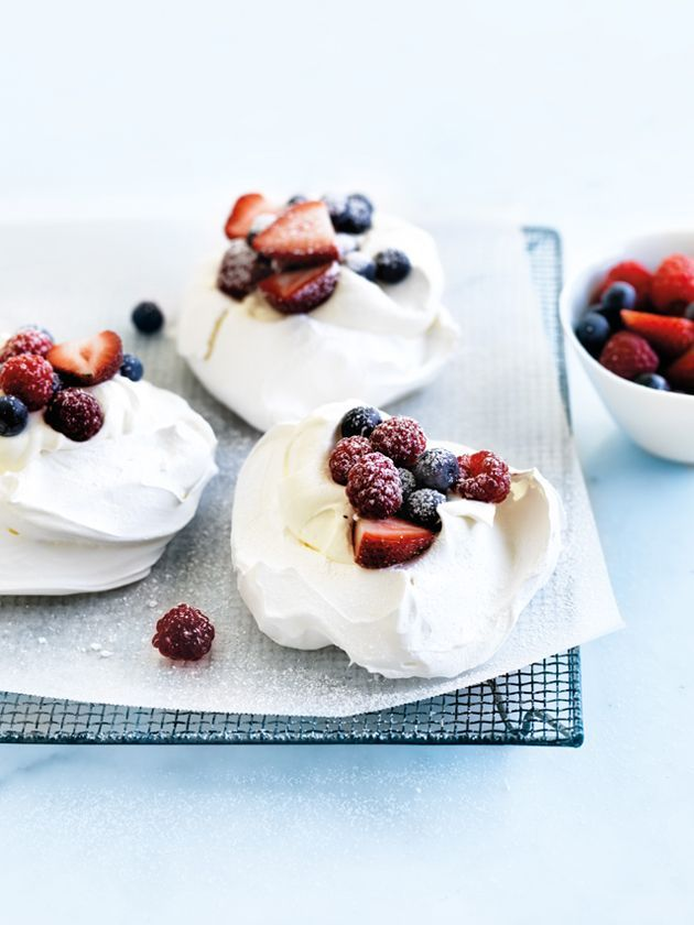 individual berry and yoghurt pavlovas