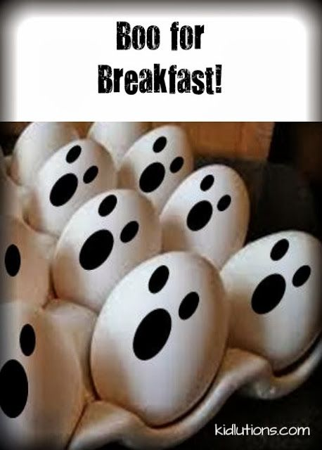 Boo for Breakfast!  Halloween Fun!//Can make all sorts of faces on eggs.  No need to stick to just one kind of face!  Get creative.  Let kids create faces!