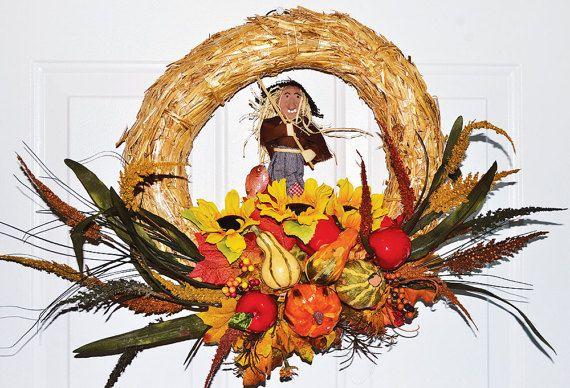 Front Door Decoration Halloween Wreath Scarecrow Wreath Fall