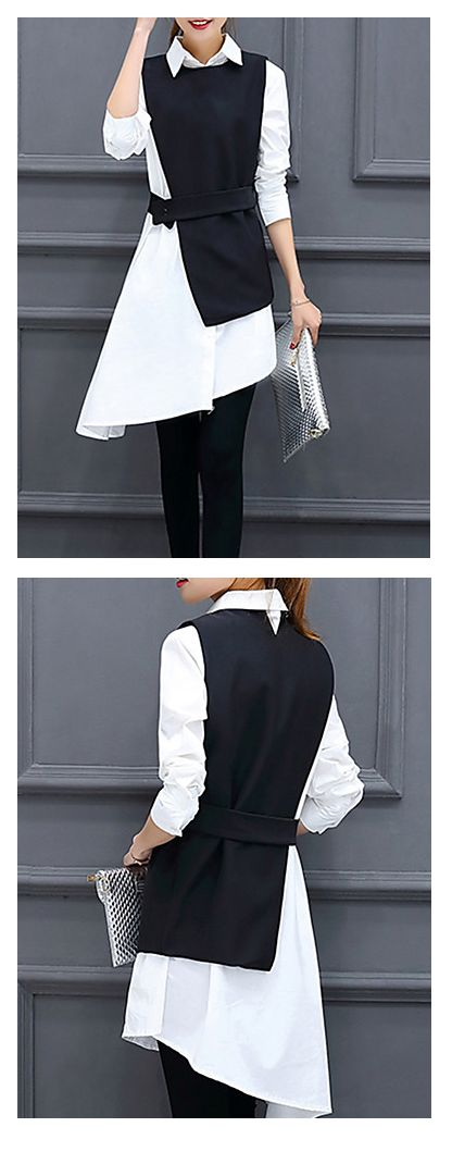 Chic sophisticated shirt with a vest for work / going out! When you want to be unique - wear this. €19.03
