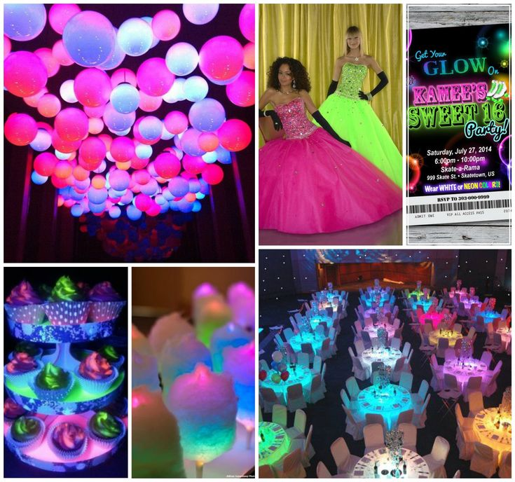 Turn off the lights and discover the beauty of glow in the dark! Your dance floor, centerpieces, balloons, and even your cake can glow in the dark.