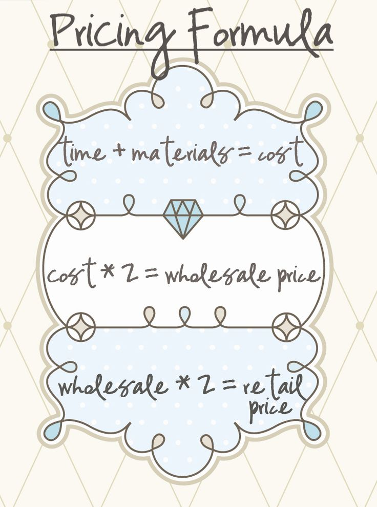 the pricing formula ... aguide, although most won't actually realize the kind of profit laid out by this formula. I think most of us under-pay ourselves for the time we invest in our projects, but ultimately you have to come to a compromise: a price the consumer can accept, and a profit margin that makes it worth your while. In any case, it's good to know how others calculate their retail pricetag.