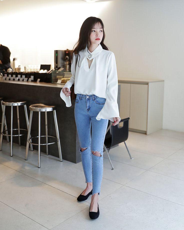 Korean Fashion Casual Street White Shirt Long Blouse Skinny Ripped Jeans Blue Navy Denim Flats