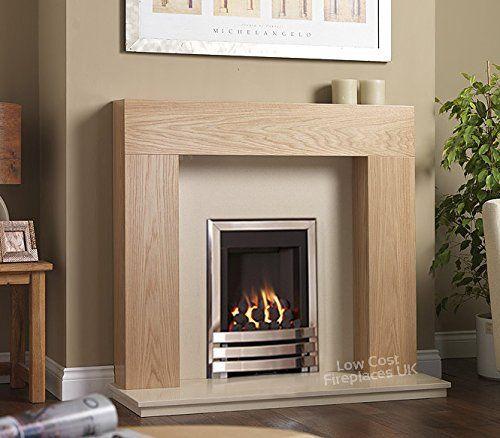 Gas Chrome Oak Surround Cream Marble Silver Coal Flame Fire Modern