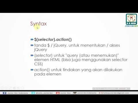 Belajar jQuery - (1) Apa itu jQuery, Install, Syntax, Contoh