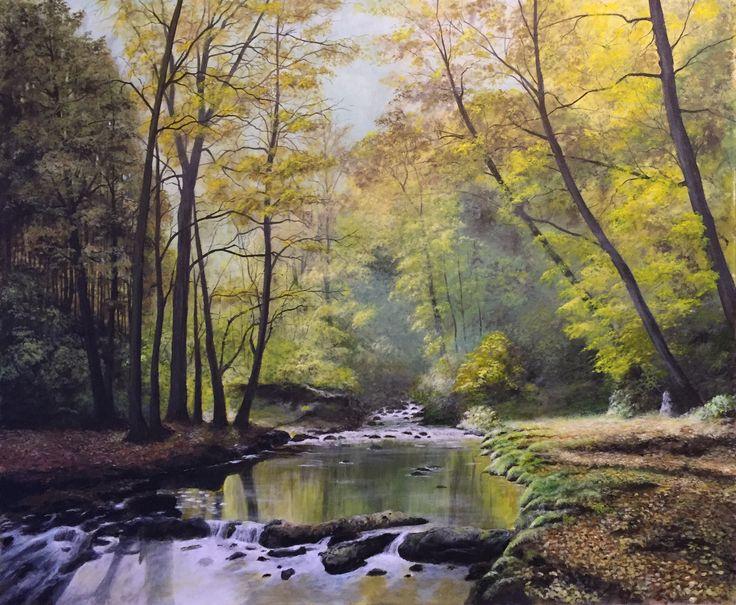 La dolcezza dell'autunno - Acrilico 2017 - Nando Conti - Torrente nel bosco