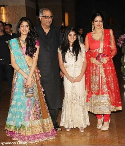Shridevi and Boney Kapoor with their beautiful daughters