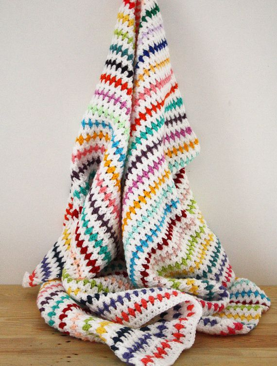 All the colours of the rainbow in one striped blanket :-)