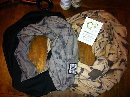 bufandas en algodón orgánico certificado, pintadas y teñidas a mano. #ecomoda