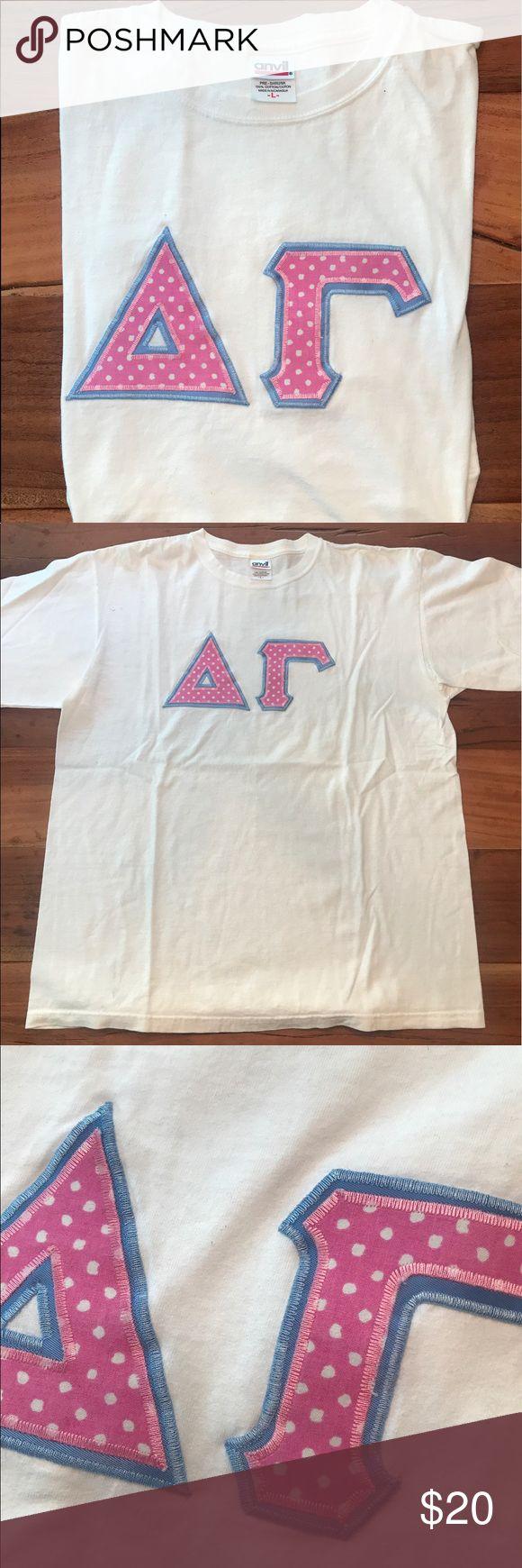 Selling this Delta Gamma Block Letters T-shirt on Poshmark! My username is: kathutch92. #shopmycloset #poshmark #fashion #shopping #style #forsale #Tops