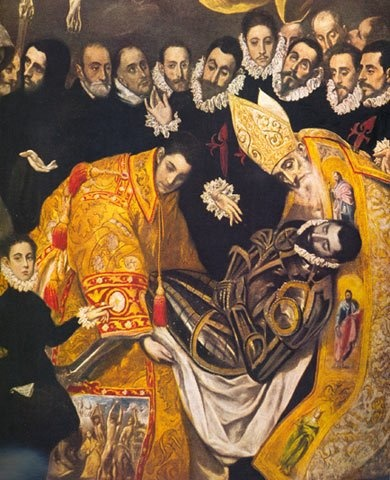 El Greco's famous painting The Burial of the Count of Orgaz.  You can see how this painting was done towards the end of his life because the bodies and faces are elongated.