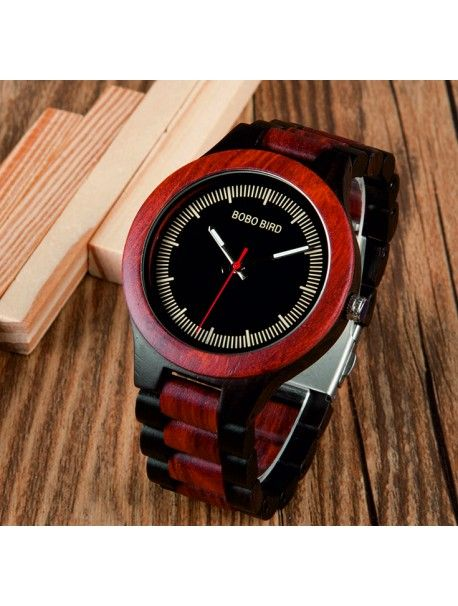 Wristwatch from wood - COMP Reference:  DH000016 -ROSEWOOD -Wristwatch  Condition:  New product  Availability:  In Stock  Elegant wooden clock with a unique design. Gift fit for a man and a woman. Watches are made of natural materials, no artificial colors.
