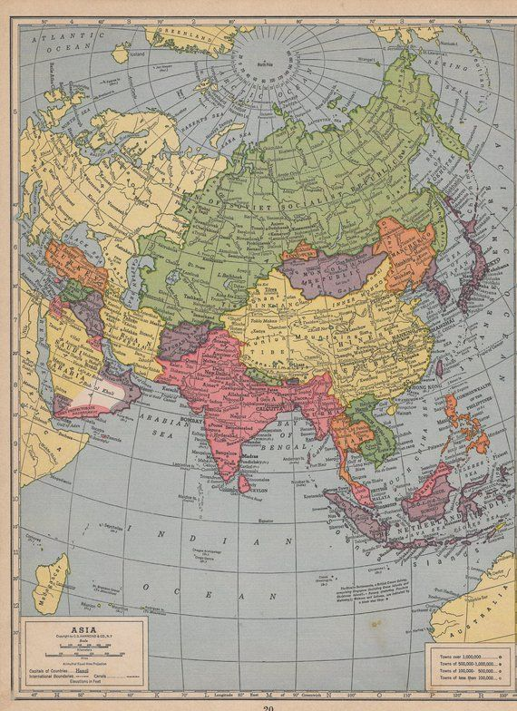 Atlas Map Of The Union Of Soviet Socialist Republics And Asia