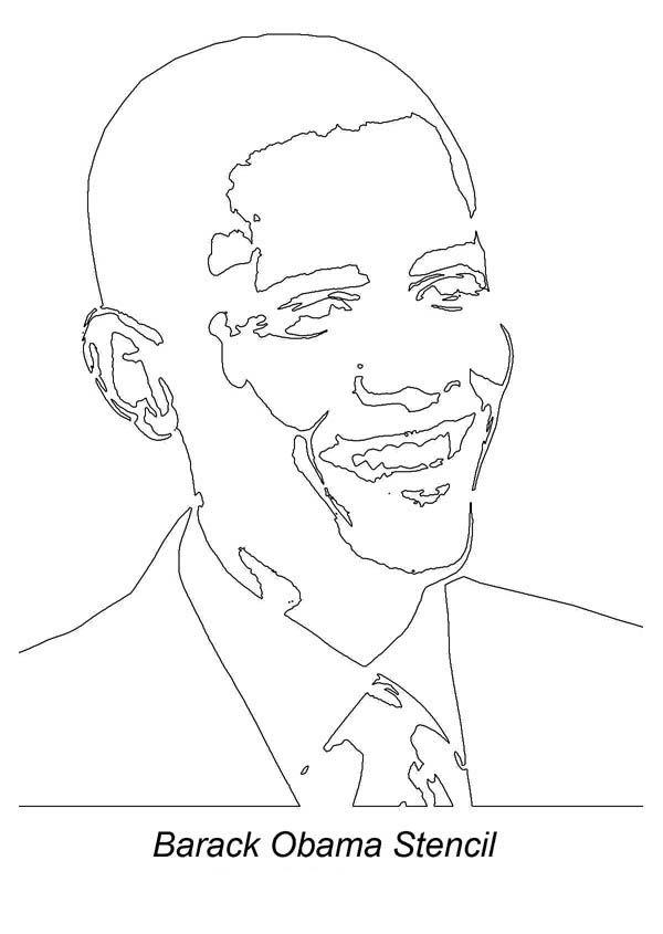 Barack Obama Barack Obama Stencil Coloring Page