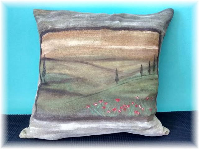 Uptist - my happy art : A tuscan pillow - Consejos para pintar en textiles...