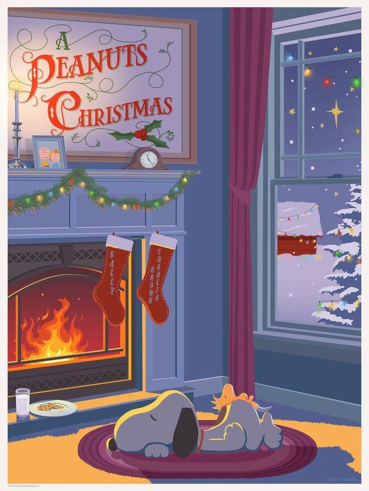"STEVE THOMAS ""A PEANUTS CHRISTMAS"" SELECT CANVAS 18"" x 24"" ""SNOOPY AND SANTA"" edition of 25"
