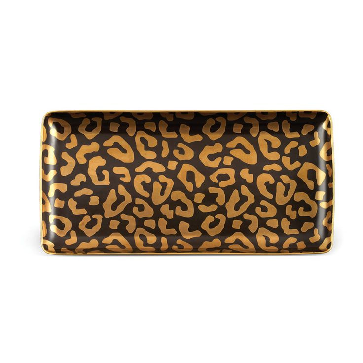 Lobject leopard rectangular tray medium