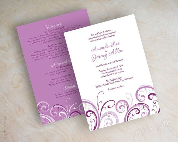 Radiant orchid wedding invitations orchid wedding by appleberryink, $47.00