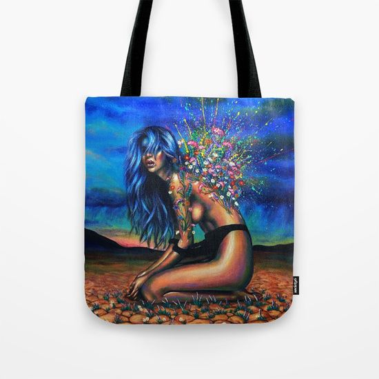 """Our quality crafted Tote Bags are hand sewn in America using durable, yet lightweight, poly poplin fabric. All seams and stress points are double stitched for durability. Available in 13"""" x 13"""", 16"""" x 16"""" and 18"""" x 18"""" variations, the tote bags are washable, feature original artwork on both sides and a sturdy 1"""" wide cotton webbing strap for comfortably carrying over your shoulder."""