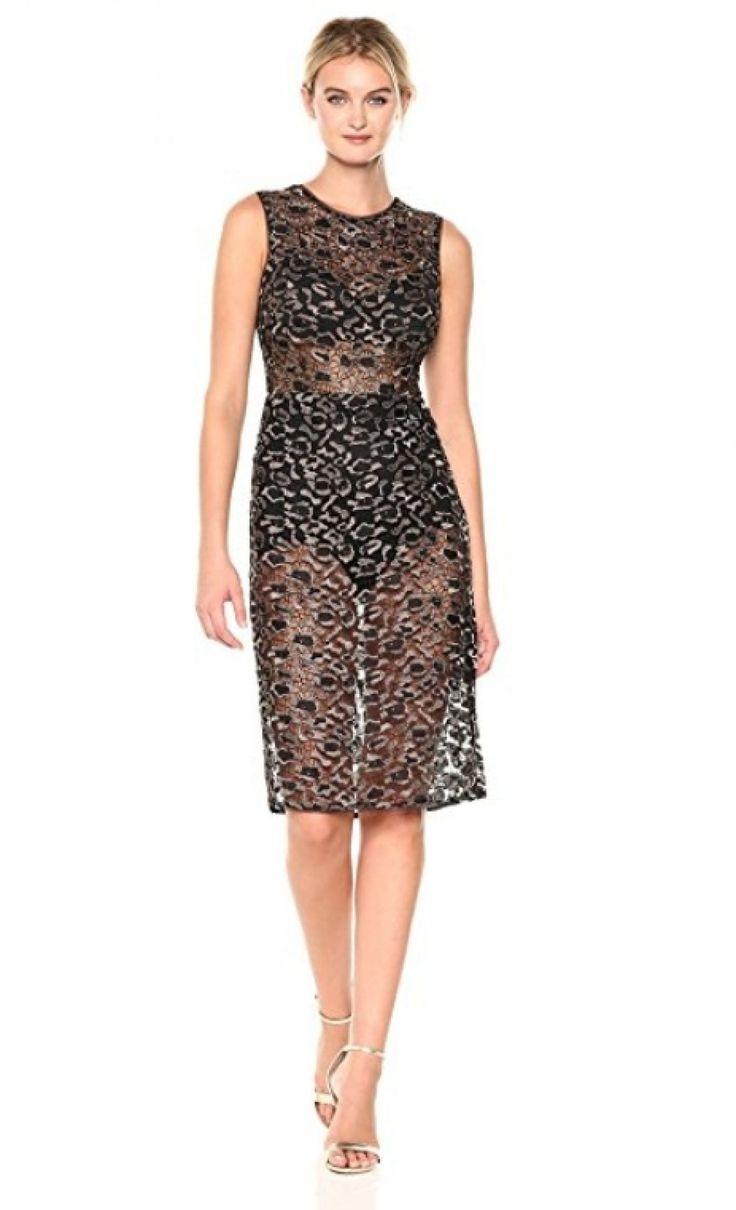 BCBGMax Azria Women's Riley Woven Metallic Illusion Dress