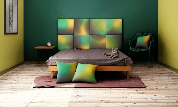 Headboard - upholstered modular wall panels OMBRE No. 2004 Turquoise - Sulphur - Hot Chocholate by DesignPolski on Etsy