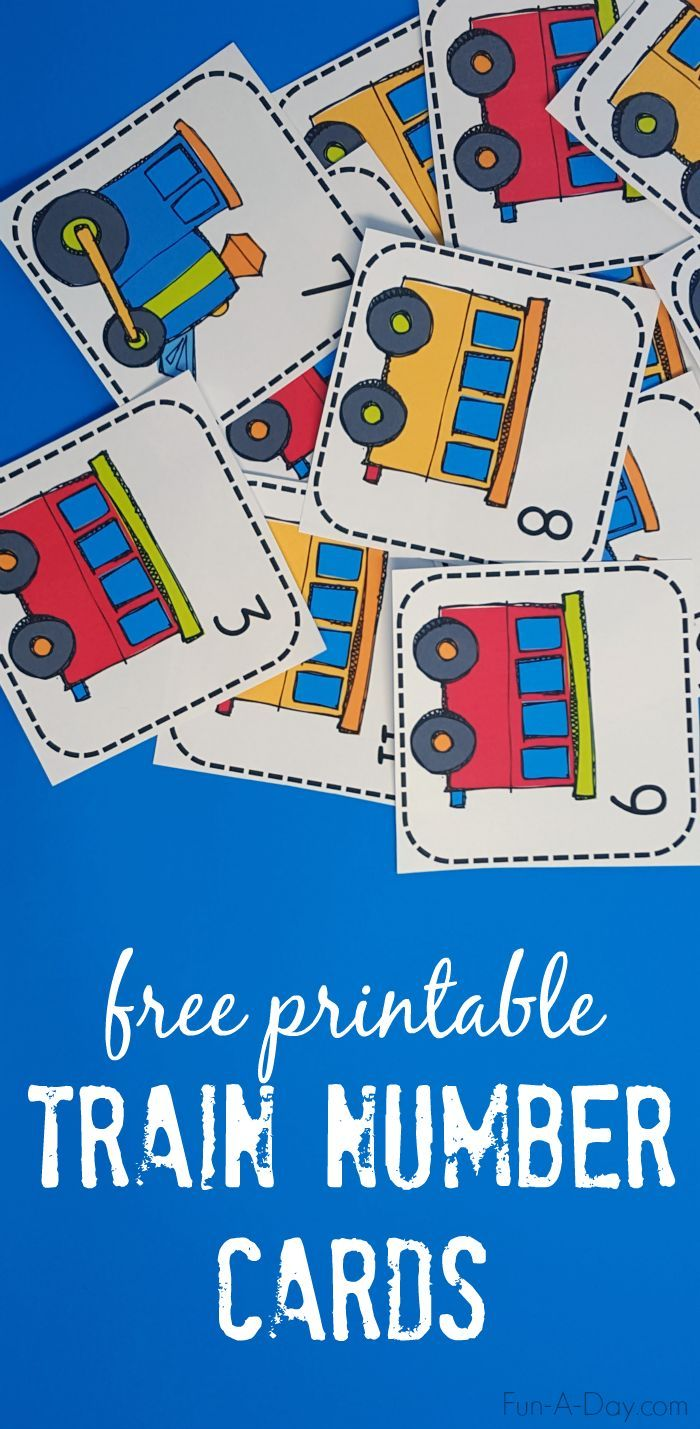 Train numbers perfect for a card matching game and many other early math activities - includes a free printable