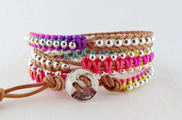 Wikkelarmbanden - Leren triple wrap armband neon multicolor/zilver - Een uniek product van Unycq op DaWanda