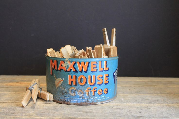 Vintage Maxwell House Coffee Tin With Vintage Clothespins // Primitive Farmhouse by MyBarn on Etsy