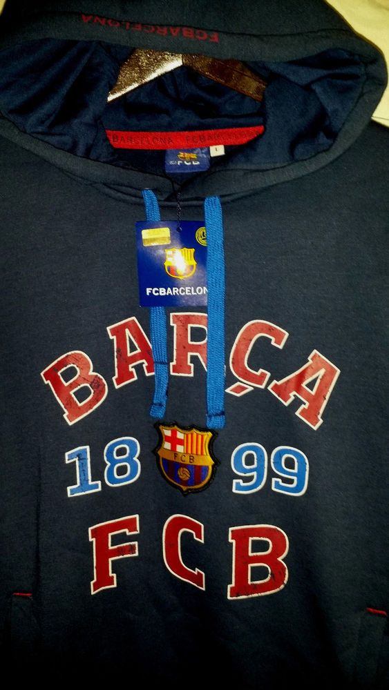 Sudadera Barca FCB Messi Sweatshirt FC BARCELONA Soccer Appliqued Hoodie NWT L #PDRogers #LongSleeve