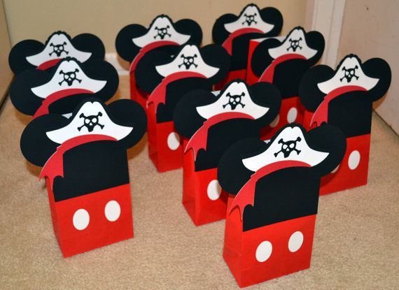 Pirate Mickey Mouse Party Favor Bags, Pirate Mickey Mouse Treat Bags